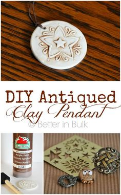 This DIY antiqued clay pendant craft is so easy to customize. It would make a great gift or hand made accessory to keep for yourself! I just love this Sculpey clay craft! Sculpey Clay, Polymer Clay Pendant, Polymer Clay Projects, Polymer Clay Jewelry, Clay Earrings, Porcelain Clay, Ceramic Clay, Cold Porcelain, Crafts For Teens To Make