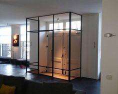 Catch the winds. Steel Doors And Windows, Tile Stairs, Flur Design, Inside Doors, Hallway Designs, Modern Staircase, Living Room Interior, Modern Interior Design, Glass Door
