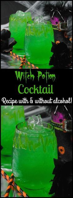 It wouldn't be Halloween if you didn't have a spooky drink. The Witch Potion Cocktail Recipe is the perfect addition to your party with or without alcohol! party drinks Witches Potion Cocktail Recipe With A Non-Alcoholic Option Halloween Snacks, Halloween Bebes, Halloween Party Drinks, Holiday Drinks, Halloween Decorations, Halloween Costumes, Halloween Art, Halloween Alcoholic Drinks, Halloween Punch Alcohol