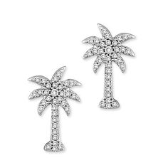 1/3 ct. tw. Diamond Palm Tree Earrings in 10K White Gold Security Jewelers. $518.00