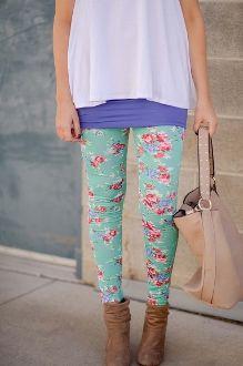 Mint Green Floral Leggings