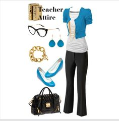 Teacher Outfit - Teacher Clothes - Wear to Work - Teacher Attire Series: Outfit 4 - Fashion Collage by DanielleJevette created on Polyvore