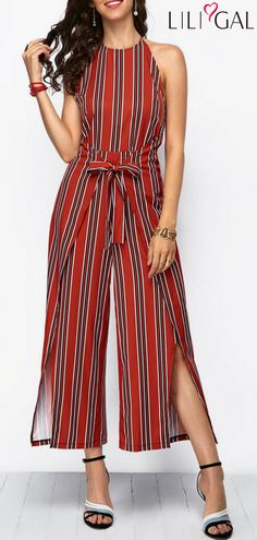 Halter Striped Tie Waist Side Slit Jumpsuit #liligal #jumpsuits #womenswear #womensfashion