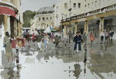 watercolour by John Yardley. Showery Morning, Bath.