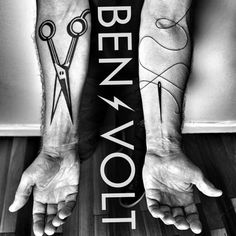 Check out these black & bold tattoos by Ben Volt. The scissors are in honor of the wearer's Barber Father, and the needle & thread tattoo in honor of his mom.