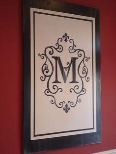 great idea...Monogram Art  Color over wood background