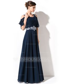 A-Line/Princess Scoop Neck Floor-Length Chiffon Mother of the Bride Dress With Lace Beading Sequins Cascading Ruffles (008054984)