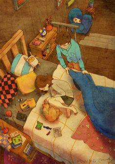 Jak vypadá opravdová láska? Korejský umělec Puuung ve svých něžně milých ilustracích ukazuje, že láska se skrývá v maličkostech a nepotřebuje velká gesta, uměle vytvořené svátky ani k prasknutí naditou peněženku.