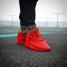 """Love this all-red """"Adidas mi ZX Flux"""" colorway!"""