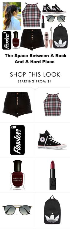 """""""The Space Between A Rock And A Hard Place"""" by happinesspeaceandlove ❤ liked on Polyvore featuring River Island, Converse, Deborah Lippmann, NARS Cosmetics, Ray-Ban, Topshop and Maybelline"""