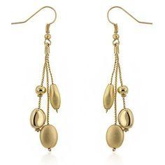 14k Yellow Gold Plated Matte and Shiny Bead 3-Strand Dangle Drop Earrings  Price : $14.00 http://www.elementjewelry.com/Yellow-Plated-3-Strand-Dangle-Earrings/dp/B0068AA0GA