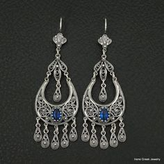 RARE BLUE SAPPHIRE CZ FILIGREE STYLE 925 STERLING SILVER GREEK HANDMADE EARRINGS #IreneGreekJewelry #Chandelier