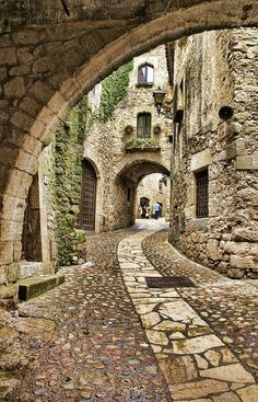 Cobblestone Street in Spain