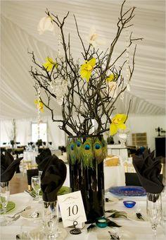 peacock wedding theme table Idea -- but with fuchsias/purples Wedding Themes, Our Wedding, Dream Wedding, Wedding Decorations, Table Decorations, Wedding Ideas, Wedding Centerpieces, Fall Wedding, Wedding Stuff