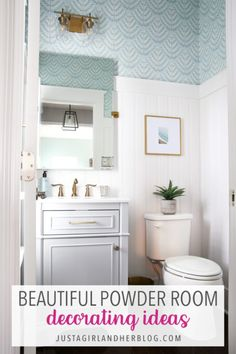 Give your half bath a refresh with these beautiful powder room decorating ideas!   #halfbath #powderroom #bathroomdecor