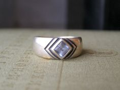 Vintage Sterling Silver and Blue Topaz Ring Size 8 by MeshuMaSH, $75.00