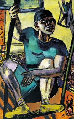 Max Beckmann. Acróbata en el trapecio. 1940.  Painting of an acrobat using many blues and yellows.