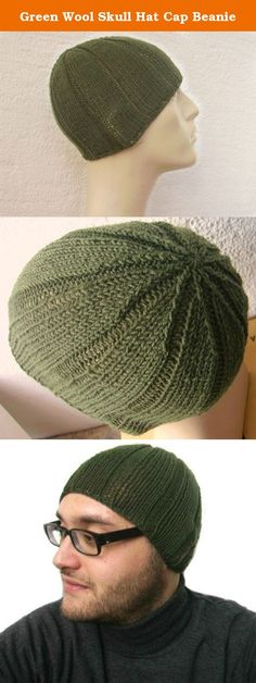 Green Wool Skull Hat Cap Beanie. Fantastic cap hat! Material: 100% wool Measurements:(stretchy) Length: ~8.2 inches (21 cm) Fits all size heads. Hand wash in cool water with mild soap. All my products are 100% handmade and unworn. Feel free to contact me anytime if you have any questions. Colors of products may differ slightly due to the different color resolution of individual computers.I will do my best to adjust the picture colors to be as close to actual as possible.