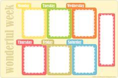 free printable weekly planner. Laminate and post on fridge/door. No surprises!