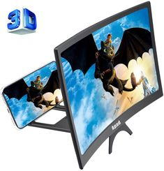 Curve Screen Magnifier for Cell Phone, HD Amplifier Projector Magnifing Screen Enlarger for Movies, Videos, and Gaming with Foldable Stand Compatible with All Smartphones (Black, 12 inch): Apa-Direct Store Mobile Accessories, Cell Phone Accessories, Electronics Accessories, 3d Smartphone, Phone Projector, Cell Phone Stand, Phone Case, Phone Gadgets, All Smartphones