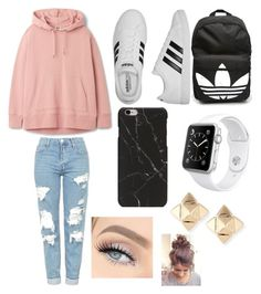 """s c h o o l ."" by alxssa-marie ❤ liked on Polyvore featuring Topshop, adidas, Apple and Valentino"