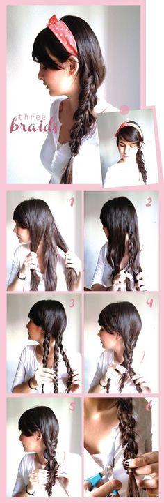 Three braids hair tutorial