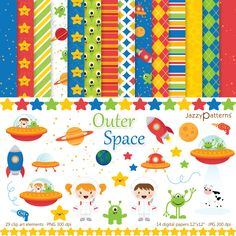 Outer Space clipart digital paper pack DK010 por JazzyPatterns