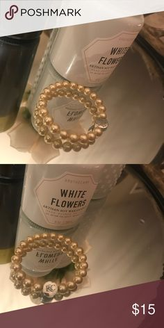 Pearl Rustic Cuff Stephanie Bracelet Gorgeous champagne colored pearls met by a silver Rustic Cuff logo rustic cuff Jewelry Bracelets
