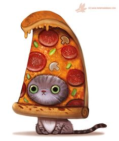 Daily Paint #1103. Pizza Cat by Cryptid-Creations.deviantart.com on @DeviantArt