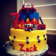 Firemen themed Happy Birthday Cake