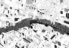 Éva Le Roi Architecture Graphics, Architecture Drawings, Plan Ville, Axonometric View, Site Analysis, Black And White Drawing, Master Plan, Urban Planning, Cairo