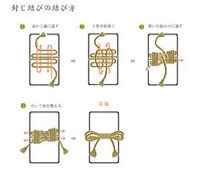 some decorative knots   文箱の封じ結び (box sealing knot)