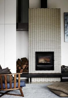 Image result for white hex tile black grout fireplace