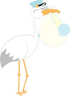 Stork boy and girl vector clipart