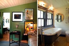 A Diary of Lovely - lovely green wall, bathroom windows