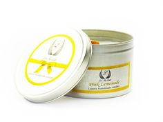 Our Luxury handmade Pink Lemonade scented candles are highly scented and a beautiful candle gift for her or just a treat for you :)  This Pink Lemonade scent is a perfectly fresh and a vibrant aroma.  All Our scented candles are Handmade and hand poured in small batches to keep our quality to its highest. Our Tin candle will burn for up to 40 hours and hold 170 g of soy wax.  we use Eco soy wax which burns cooler and for longer giving you a longer burn time. Eco soy wax is 100% Eco friendly…