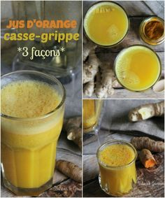 Flu-fighting orange juice - 3 ways - Valises & Gourmandises Vegetable Rice Soup, Vegan Chicken Noodle Soup, Fresh Turmeric, Organic Turmeric, Organic Raw Honey, Jus D'orange, Ginger And Honey, Vegan Pumpkin, Natural Remedies