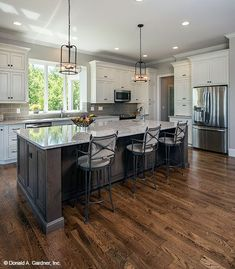 save for floor color.  White uppers and grey lower cabinets. I love them #kitchenideas