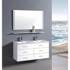 Belvedere 48-inch Contemporary White Wall Floating Bathroom Double Vanity - Free Shipping Today - Overstock.com - 18615687 - Mobile