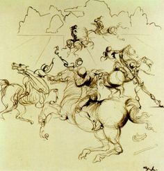 Surrealist Knights for a Four-part Screen, Centre Right,  - Salvador Dali  #dali #paintings #art