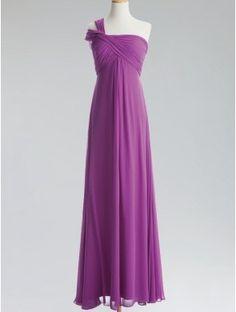 cheap purple one shoulder long chiffon evening dress
