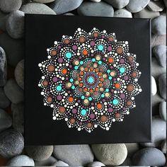 "12"" x 12"" Hand-Painted Mandala on Canvas - dot painting"