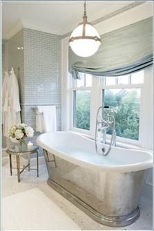Like the grey and white bathroom  Love the window  curtain