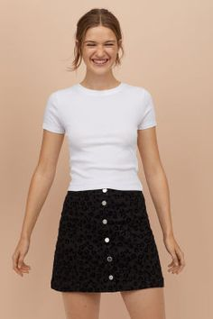 Shop online for affordable women's tops at H&M, from tanks, t-shirts and camis to dressy going-out tops. Cute Summer Outfits, Casual Outfits, Spring Outfits, Girl Outfits, White Mesh Bodysuit, A Line Skirts, Mini Skirts, Light Brown Hair, Ribbed Top