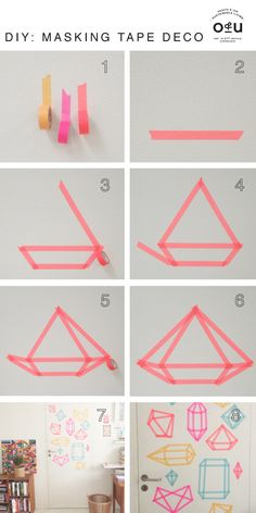 Add a diamond pattern to your door using washi tape.   37 Ingenious Ways To Make Your Dorm Room Feel Like Home
