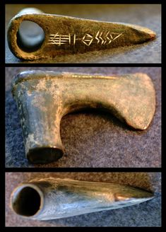 """massarrah:  """" An Old Akkadian Bronze Axe  This bronze head of an axe of unknown provenience from the Old Akkadian period possibly bears the name of the weapon's owner. The cuneiform inscription reads, """"Išme-kīn"""".  Old Akkadian, c. 2340-2200.  California..."""