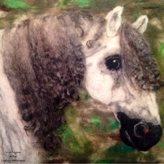Wet and needle felted painting based off a piece by pastel artist Lesley Harrison