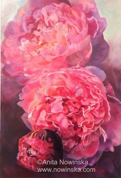 Efflorescence 41x61cm mixed media on canvas Blowsy pink peonies opening up Peonies, flowers, flower painting