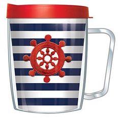 Red Ship Wheel Emblem On Navy Stripes 18 Oz Monday Coffee Tumbler Mug