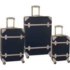 The vintage trunk inspired yet thoroughly modern Diane von Furstenberg Saluti Hardside 3 Piece Spinner Luggage Set reminds us of travels of old but with all the conveniences of the modern age. Featuri